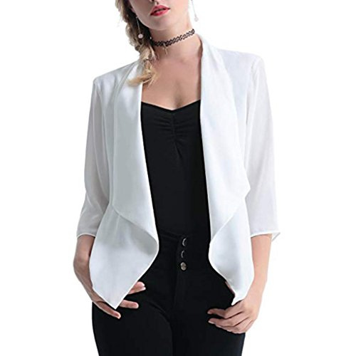 TOPUNDER Casual Solid Comfy Light Chiffon 3/4 Sleeve Cardigan for Women Open Front ()