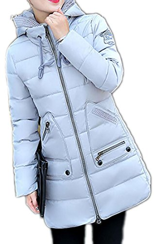 MK988 Length Hoodie Jacket Warm Mid Puffer Classic Winter Womens Grey rqwHrfp