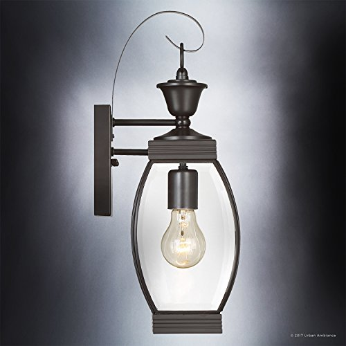 Luxury Colonial Outdoor Wall Light, Medium Size: 17''H x 5.5''W, with Transitional Style Elements, Bowed Design, Gorgeous Dark Medieval Bronze Finish and Beveled Glass, UQL1170 by Urban Ambiance by Urban Ambiance (Image #3)