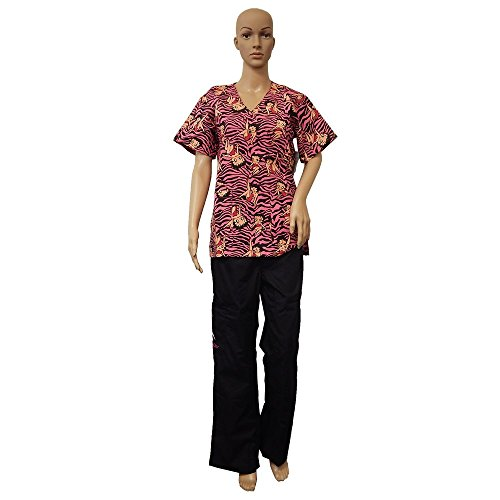 Betty Boop Fashion Medical 2-Piece Scrub Set Top and Pants, Work Safety (Small, Black Zebra) ()