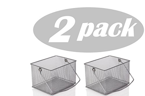 (YBM Home Mesh Wire Food Storage Organizer Bin Basket with Handle for Kitchen Pantry, Cabinets, Bathroom, Laundry Room, Closets, Garage - Rectangle Metal Farmhouse Mesh Basket, 2 PACK )