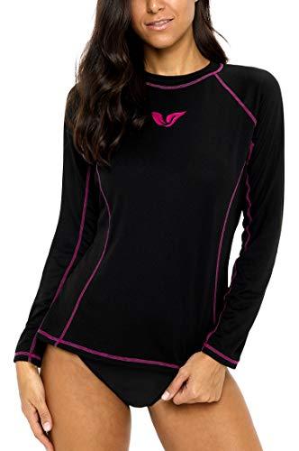 ALove Women Long Sleeve Rashguard Top Loose-Fit Swim Top Crew Neck Workout Shirt Fuchsia XL - Sleeve Rash Long Crew Guard