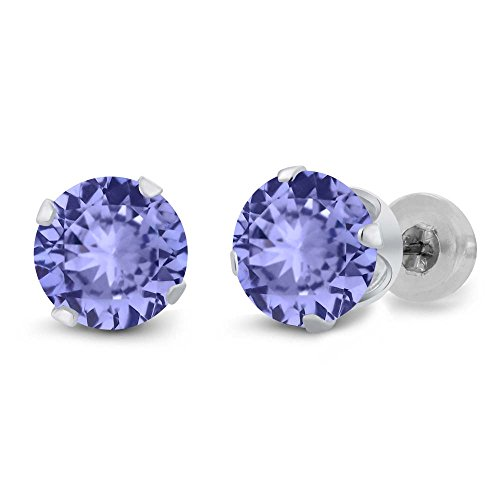 1.80 Ct Round Blue Tanzanite Gemstone Birthstone 14K White Gold Earrings (Dangling Tanzanite Earrings)