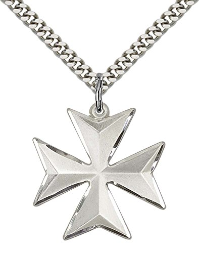 Sterling Silver Maltese Cross Pendant with 24