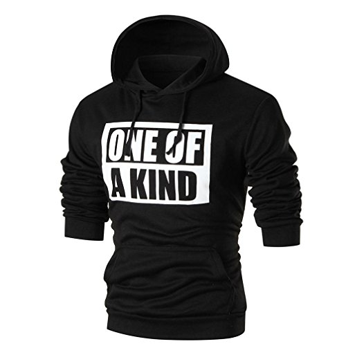 Hooded Long Sleeve Letter (WM & MW Cool Boys Men's Hoodie Pullover Long Sleeve ONE OF A KIND Letter Print Hooded Sweatshirt Top Hoodies Tee Shirt (M=(US:S), Black))