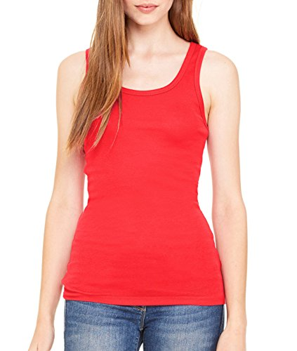 Bella womens Sheer Mini Rib Tank(B8780)-RED-M