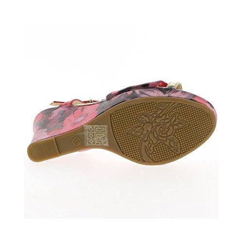 Sandalias de cuña negra en el talón de 10,5 cm motivos meseta flores