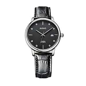 Mechanical watch,Automatic leather wrist strap waterproof retro business casual fashion thin alloy shell-C