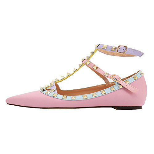 Toe Buckles pink MERUMOTE Sexy Double with Daily Rockstud Fashion Pointed Rivets Flats Women's Matte Shoes Ballet PPqIB