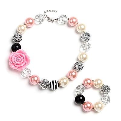 """Vcmart """"Rosa Rugosa"""" Girls Chunky Bubblegum Pendant Necklace and Bracelet set, 19"""""""