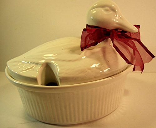 California Pottery Large White Ceramic Duck Soup Tureen with Ladle, 11 x 8 Inches by California Pottery