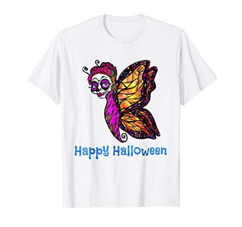 Calavera Butterfly Fairy Skull Mask Day Of The Dead T Shirt - Fairy T-shirt Butterfly