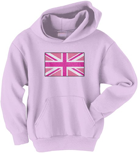Threadrock Big Girls' Pink Union Jack Flag Youth Hoodie Sweatshirt L ()