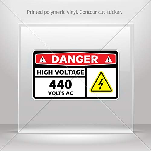 Signs Various sizes Sticker Danger High Voltage 440 Volts Ac Motorbike Vehicle Weatherproo (6 X 3.49 Inches) ()
