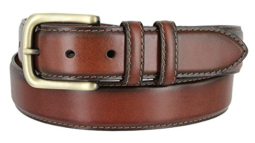 Dress Leather Belt Brass Buckle - Men's Genuine Leather Dress Belt With Antique Brass Buckle (32, Brown)