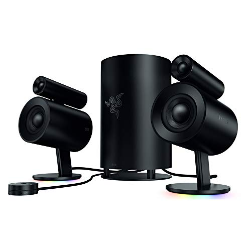 Razer Nommo Pro: THX Certified Premium Audio - Dolby Virtual Surround Sound - LED Illuminated Control Pod - Downward Firing Subwoofer - Powered by Razer Chroma - PC Gaming Speakers