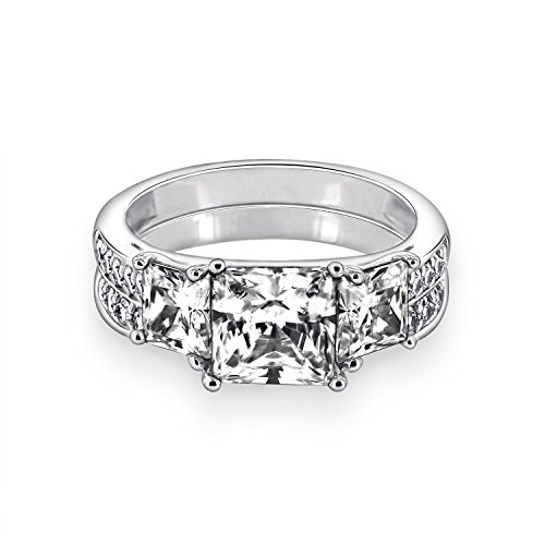 (Diamonbliss Platinum Plated Sterling Silver Cubic Zirconia Princess Cut 3-Stone Ring Set Size-4)