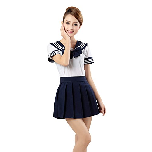 LSERVER Japanese Anime Classice Cute Sailor Suit Short Sleeve Students Uniform Set Costume for Girl Women Dark Blue (Anime Teen Costumes)