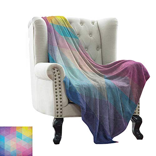 Anyangeight Indie, Blankets and Throws, Abstract Triangles Classical Diamond Line Pattern in Dreamy Colors Artistic Modern, Couch Bed Blankets Mini Size, (W60 x L62 Inch Multicolor
