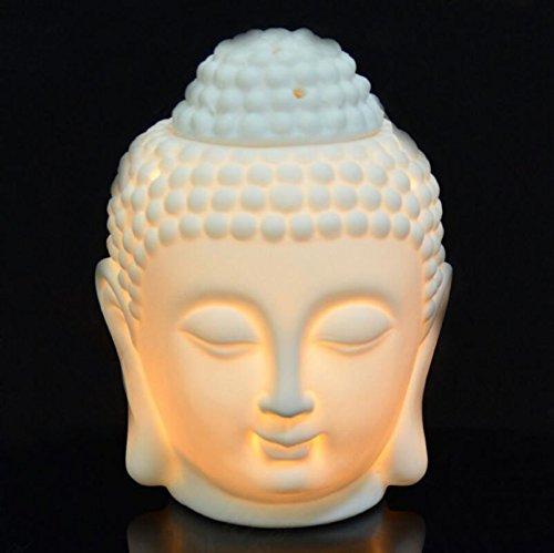 Singeek Buddha Head Ceramic Tea Light Holder,Essential Oil Burner Candle Aroma Diffuser For Spa Yoga Meditation (White) (Porcelain Warm)