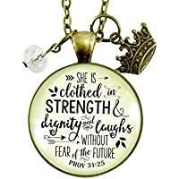 "24"" She Is Clothed In Strength And Dignity Necklace Faith Jewelry For Women Proverbs 31 25 Christian Pendant Gift Crown Charm"