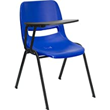 Flash Furniture Blue Ergonomic Shell Chair with Right Handed Flip-Up Tablet Arm