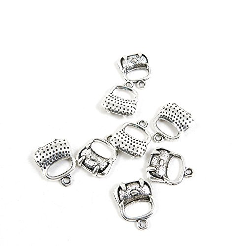 30 x Antique Silver Tone Jewelry Making Charms Findings Handmade Necklace Bracelet Bulk Lots Supplier Supply Crafting Q6LL4 Handbag Purse