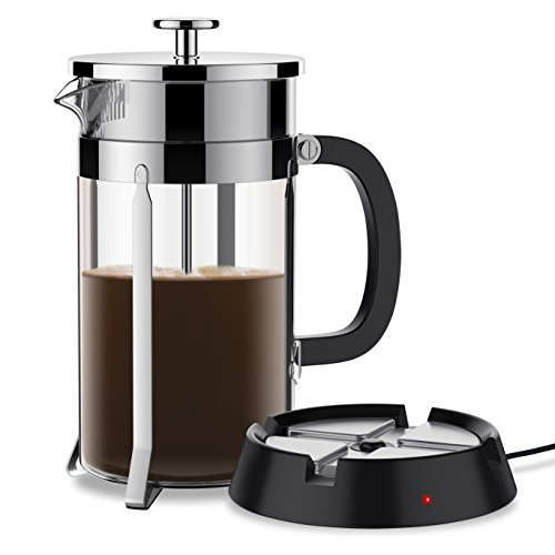 French Press Pot - BREVO 8 Cup French Press Coffee Tea Maker with 35W Electric Warmer (Sliver Pot)