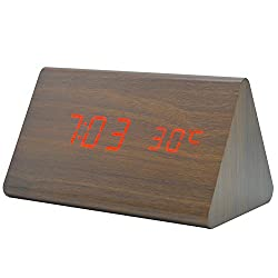 EURDIA Wood Alarm Clock LED Digital Electronic Desktop Home Travel Bedroom Bedside Mute Child Clock (Brown Wood Red Light)