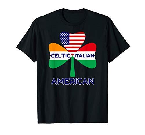 (Irish Italian American Flag And Shamrock T-Shirt Pride)