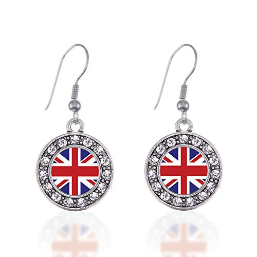 Inspired Silver - UK Flag Charm Earrings for Women - Silver Circle Charm French Hook Drop Earrings with Cubic Zirconia Jewelry