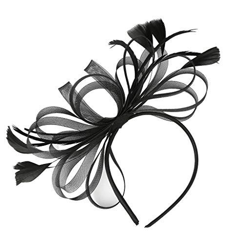 Sayhi Flower Cocktail Hair Clip Fascinators Hat for Women Tea Party Headband Fancy Dress Wedding Accessories (Black,Free Size)