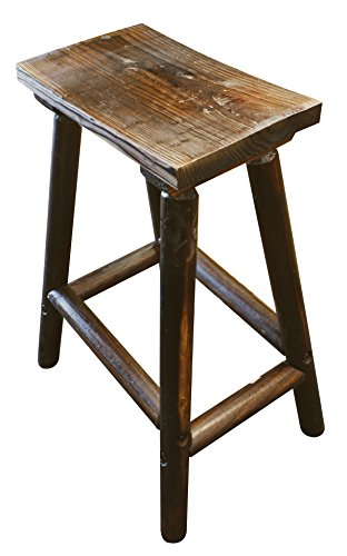 Char Log Saddle Stool, 28-Inch Log Bar Chair