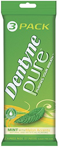 Dentyne Pure Sugar Free Gum (Mint with Melon Accents  3 x 9 Piece  Pack of 20)