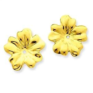 Amazon.com: 14K Yellow Gold Flower Earring Jackets Jewelry