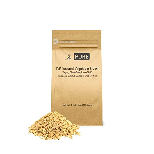 TVP Textured Vegetable Protein (1 lb, ¼ cup per serving) by Pure Organic Ingredients, All Natural, Non-GMO, Vegan & Gluten-Free, Rich in Protein, Packed with Minerals, Eco-Friendly Packaging