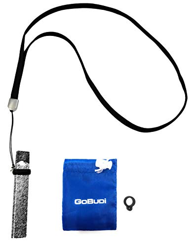 GOBUDi Lanyard Necklace Compatible with JUUL BLU or Similar Sized Vape Pens (Black)