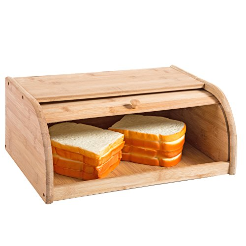 16 inch Kitchen Natural Wooden Bamboo Rolltop Bread Box Food Storage - MyGift by MyGift (Image #4)