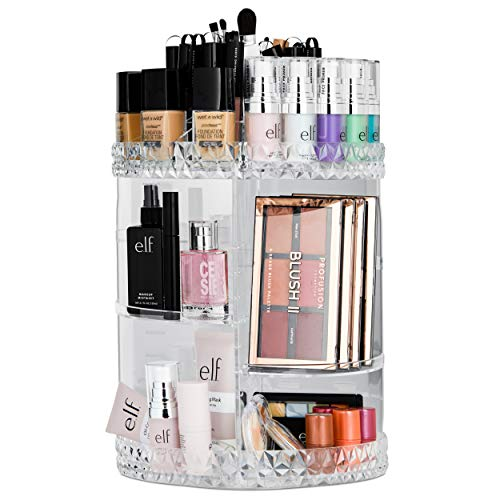 Bellapelle Rotating Makeup Organizer Large Cosmetic Display Case with 6 Tiers 4 Adjustable Shelves and 15 Upper Slots With 360 Degree Rotation - for Your Vanity Countertop Or Bathroom