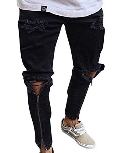 Pantalones Vaqueros Hombres Rotos Pitillo Originales Slim Fit Skinny Pantalones Casuales Elasticos Agujero Pantalón #1898