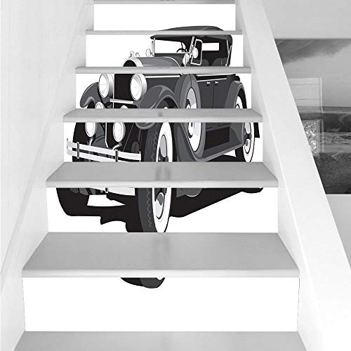Stair Stickers Wall Stickers,6 PCS Self-adhesive,Cars,Old Timer American Black Car Classical Urban Travel Nostalgic Revival Engine,Black Grey White,Stair Riser Decal for Living Room, Hall, Kids Room D]()