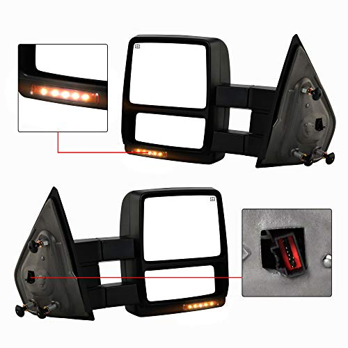 (Make Auto Parts Manufacturing - New Premium Passenger and Driver Power Heated Manual Folding, w/Signal Lamp Tow Mirror Pair For Ford F150 2004-2006 - FO1320321, FO1321321, FO1320242,)