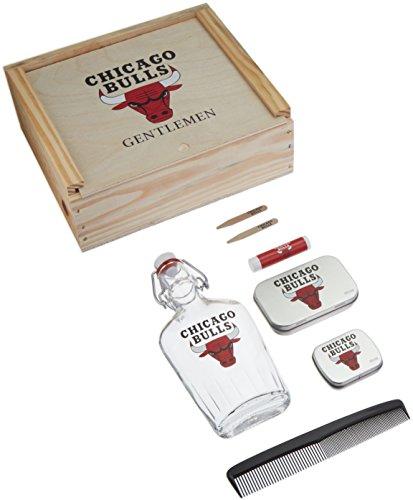 NBA Chicago Bulls Gentlemen's Gift Box Toiletry Edition 1- 250 ML Glass Swing-Top Bottle, 2 - Brass Collar Stays, 1- Tissue Pack, 1- Comb, Tan, 10