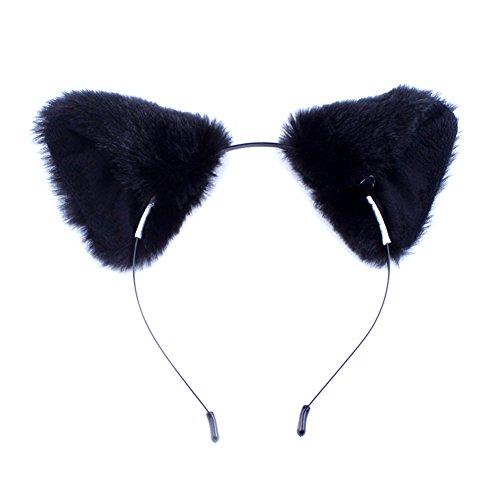 BUYITNOW Fur Cat Fox Ears Hairband Anime Cosplay Halloween Hairhoop ()