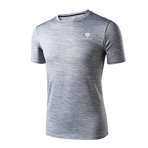 Bluestercool Hommes Manches Courtes T-Shirts Fitness Sports Gym Running Yoga Chemise Athlétique Tops Gris