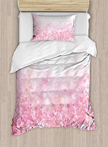 Ambesonne Pale Pink Duvet Cover Set, Japanese Cherry Blossom Sakura Tree with Romantic Influence Nature Theme, Decorative 2 Piece Bedding Set with 1 Pillow Sham, Twin Size, Baby Pink