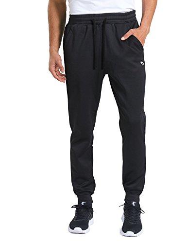 Baleaf Men's Fleece Joggersr Running Pants Athletic Thermal Tapered Leg Pockets Black Size XL ()