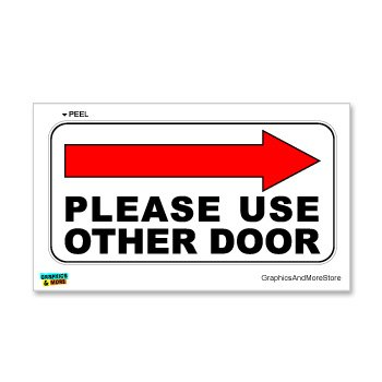 Please Use Other Door Right Arrow   Business Store Door Sign   Window Wall  Sticker