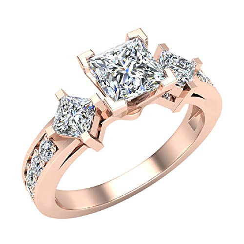 Three-Stone Princess Cut Diamond Engagement Ring for women Past Present Future 1.15 carat total weight 14K Rose Gold (Ring Size 4)