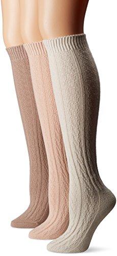 Muk Luks Women's 3 Pair Pack Cable Knee High Socks, Multi, One Size